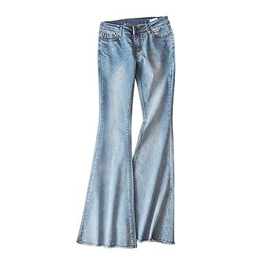 c45b06ec74774 Lisli Jean Femme Pantalon à Bas Evasé Denim Taille Basse Casual Jean à  Pattes d'éléphant Pantalon à la Mode Tendance: Amazon.fr: Vêtements et  accessoires