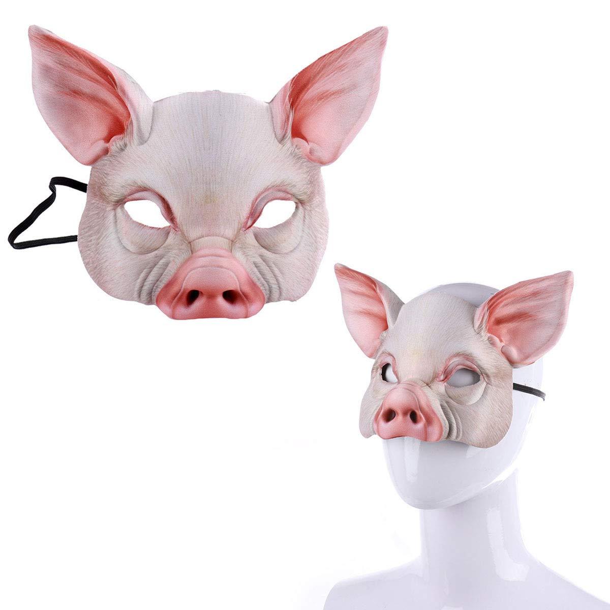 YeahiBaby Mezza Faccia Maschera per Animali Maschera di Maiale per Festa Festival Masquerade Fancy Ball Cosplay Rosa