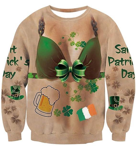 09d411d13 Idgreatim Women Lucky Shamrock Ireland Clover Sweatshirt Long Sleeve  St.Patrick's Party Couples Shirt Green