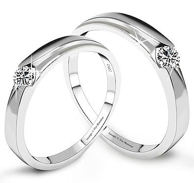 93f4f7a1ed Via Mazzini 925 Silver Plated Love Birds Crystal Couples Ring (Ring0129):  Via Mazzini: Amazon.in: Jewellery