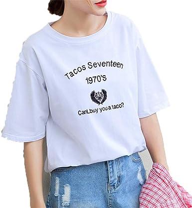 dj&YJ Camiseta Blanca Suelta, Camiseta De Manga Corta para ...