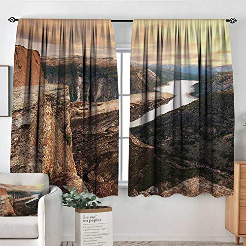 All of better Mountain Custom Curtains Northern Mountains Canyon Landscape with Calm River in Norway Scenic Nature Tops Thermal Blackout Curtains 63