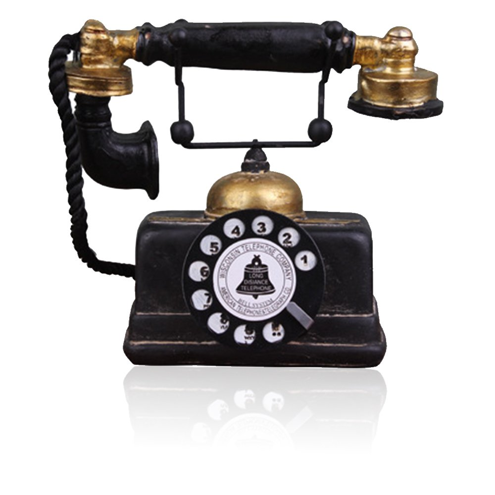 Hewnda 7 inch Creative Retro Telephones European Resin Rotary Dialing Telephone Decoration Cafe Bar Window Decorative Home Decoration Props (L: 7 1/4 inch X W: 3 1/8 inch X H: 6 1/4 inch)