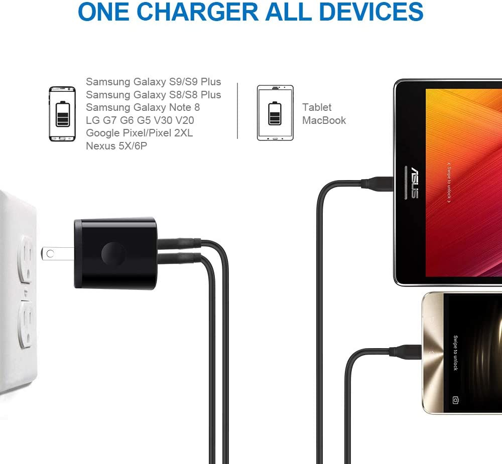 Galaxy A50 S10 G8//G7//V40 ThinQ G6 G5 V30 V20 Moto G8//G7//G6//X4//Z3//Z2 AndHot Dual Port USB Wall Charger Car Charger Adapter with 2-Pack 6ft USB Type C Fast Charging Cable Compatible with LG Stylo 4 5