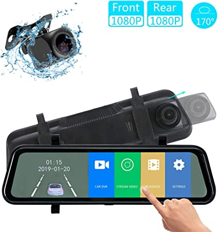 Backup Camera 10 inch Mirror Dash Cam Dual Lens Front Rear Dash Camera 1080P Full Touch Screen Video Streaming Rear View Mirror Loop Recording Parking Monitor Waterproof Rear Camera Night Vision