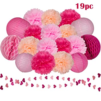 Amazon pink rose tissue paper flowers pom poms lanterns pink rose tissue paper flowers pom poms lanterns honeycomb balls and heart shaped paper garland mightylinksfo
