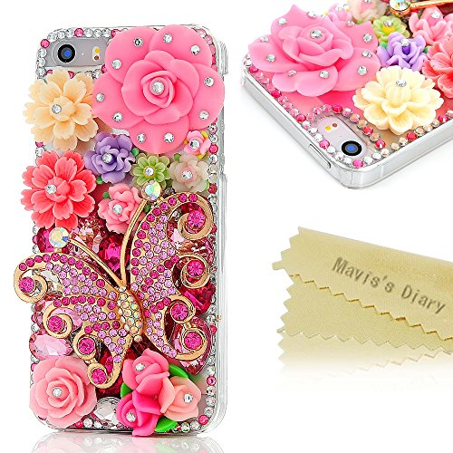 Mavis's Diary for iPhone 5S Case,iPhone SE Case,iPhone 5 Case, 3D Handmade Bling Crystal Pink Butterfly Colorful Flowers Shiny Rhinestone Diamond Hard…