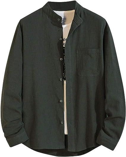 ZODOF camisa hombre camisas sport Nuevo Casual Comodo Moda Color Sólido Suelto Bolsillo Solapa Manga larga Camisa Tops Blusa Moda para hombre camisa lino hombre(XXL,ejercito verde): Amazon.es: Instrumentos musicales