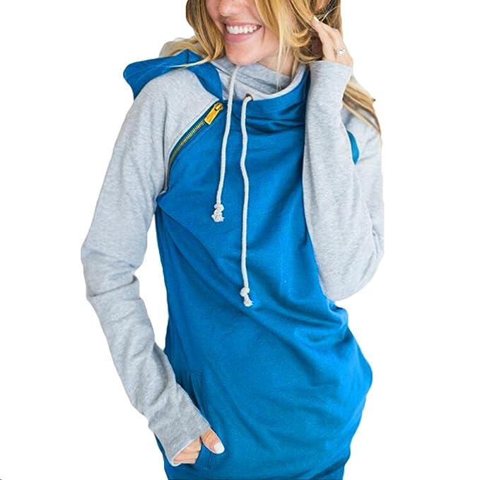 Hibote Femmes Mode Pulls à Capuche Sweat-Shirt Automne Hiver De Style  Manches Longues Sweats à Capuche de Cordon Pull Bleu  Amazon.fr  Vêtements  et ... 647d4bc6ec10