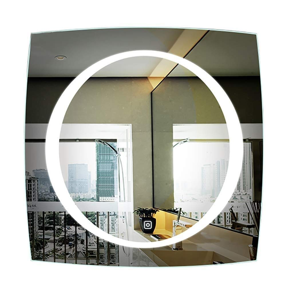 Beauty mirror LED Bathroom Mirror,Illuminated Mirror Modern Square Wall Mounted Vanity Mirror With Lights Touch Switch For Bathroom Washroom Dressing mirror (Size : 70CM) by Makeup Mirrors