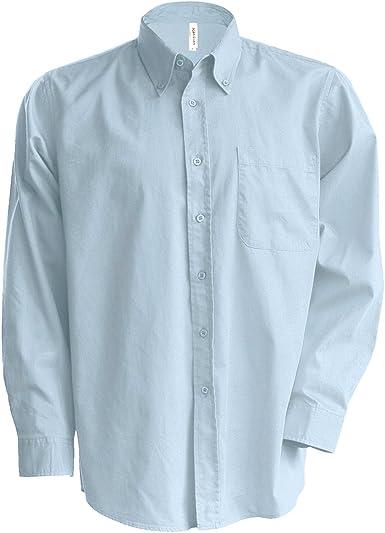 Kariban - Camisa Manga Larga Modelo Oxford Cuidado fácil (Tallas Grandes) Hombre Caballero - Trabajo/Boda/Fiesta