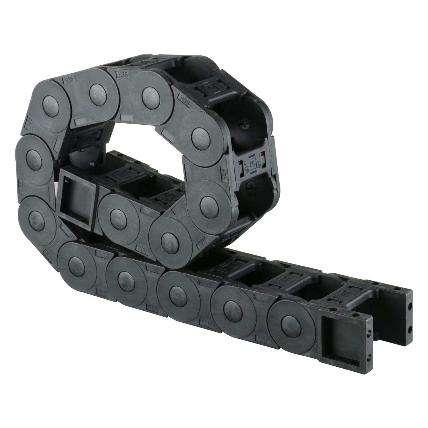 Plastic Drag Chain Cable Carrier Closed Type with End Connectors R100 35 x 60mm L1040mm for Electrical CNC Router Machines by YAETEK