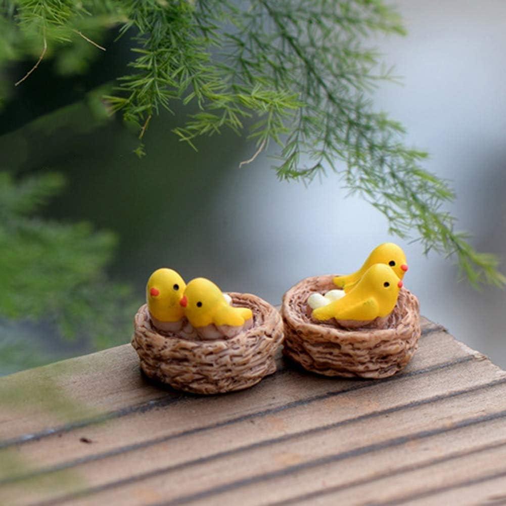 yxsian69g Miniature Garden Figurines Figurines Miniature 2Pcs Mini Birds with Nest Garden Resin Art Craft Home Decor Desktop Ornament