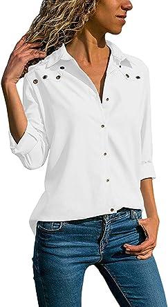 DUJIE Camisas para Mujer, Blusa Mujer Elegante Camisetas Mujer Manga Larga Mujer Blusa Cuello V Camiseta Túnica Color Puro Camisa Mangas largas para Mujer Size S-XXXXXL (C, 2XL): Amazon.es: Ropa y accesorios