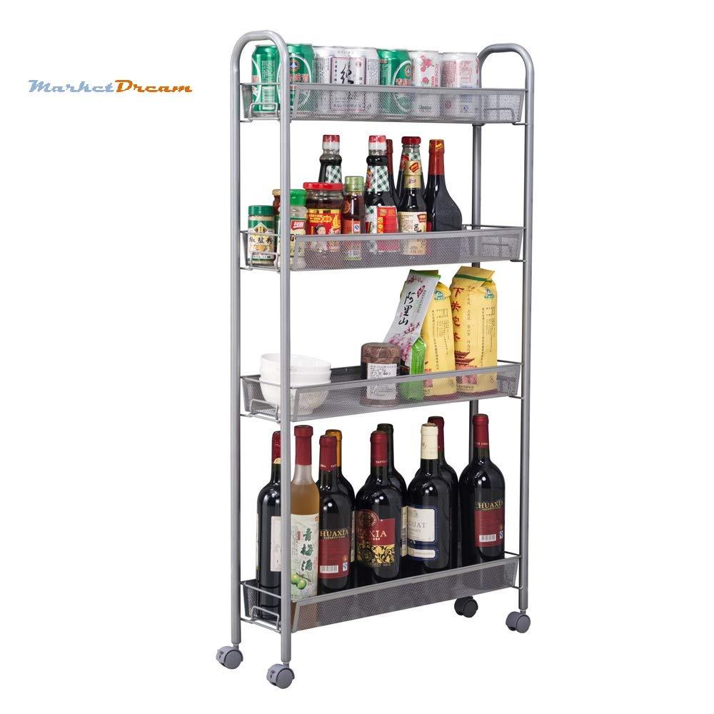 MarketDream 4-Tier Gap Kitchen Slim Slide Out Storage Tower Rack with Wheels, Storage Rack Trolley,Home Kitchen Organizer, Cupboard with Casters - Silver
