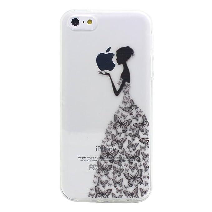 10 opinioni per iPhone 5C Cover , YIGA Negro Ragazza Farfalla Trasparente Silicone Cristallo