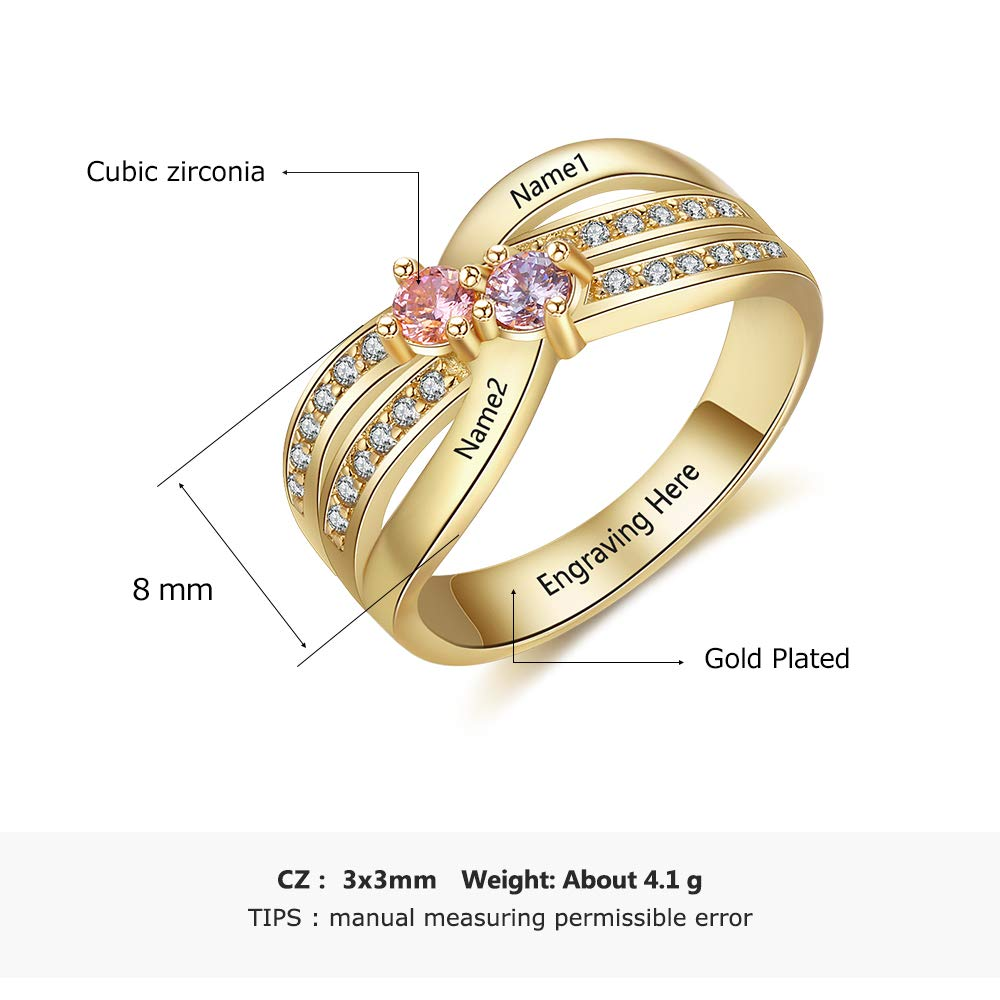QXun Personalized Mothers Ring with 4 Simulated Birthstones /& 4 Names Promise Love Rings for Women Customized Family Jewelry
