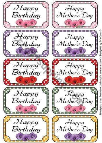 Happy Mothers Day /& Birthday tags by Eva Cano