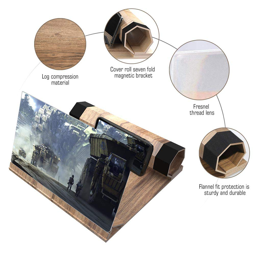 12\'\'HD Foldable Screen Magnifier, VXSCAN Crude Wood Grain 3D Mobile Phone Screen Amplifier, Suitable for All Smartphones Enlarger Watching Movie Videos
