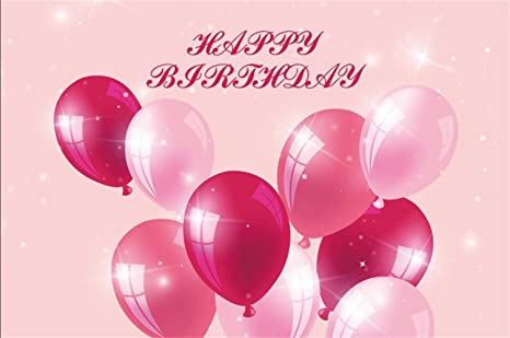 Laeacco Happy Birthday Theme Backdrop 10x7' Vinyl Red Pink Balloons Sparkling Light Spots Photography Background