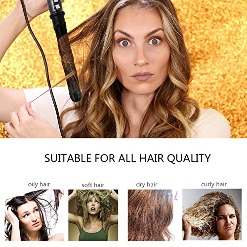 HISOON Professional Curling Iron Brush, 1.25 inch Automatic Curling Iron 2 in 1 Dual Voltage Ceramic Tourmaline Hair Curler Hot Brush, Anti-Scald Instant Heat Up Curling Wands Black by HISOON (Image #1)
