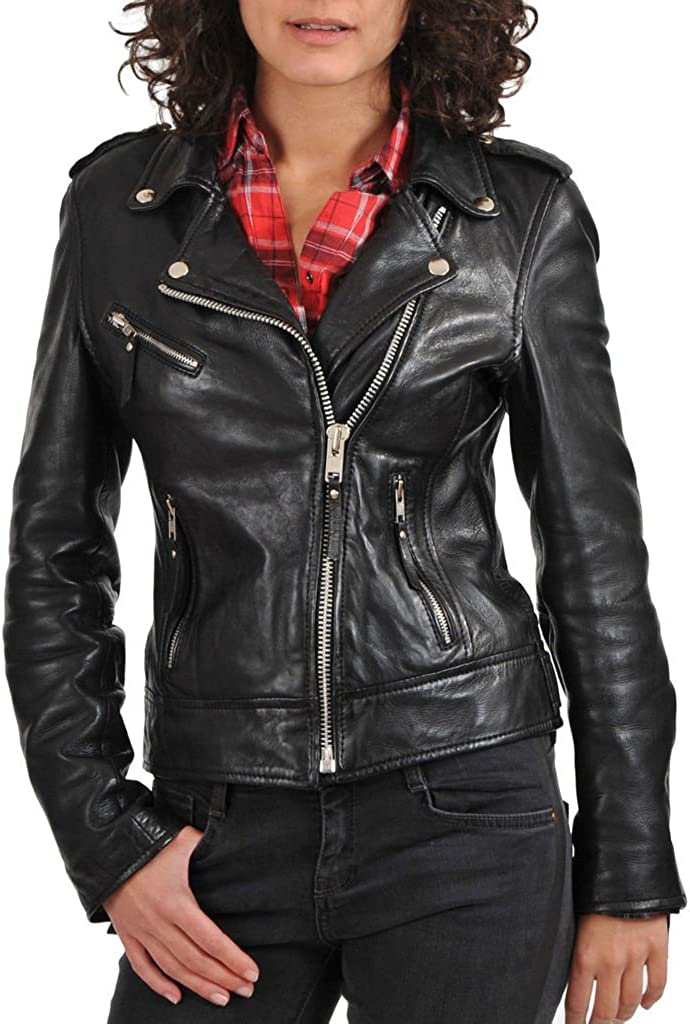 New Womens Motorcycle Genuine Sheep Leather Party Jacket LFW258