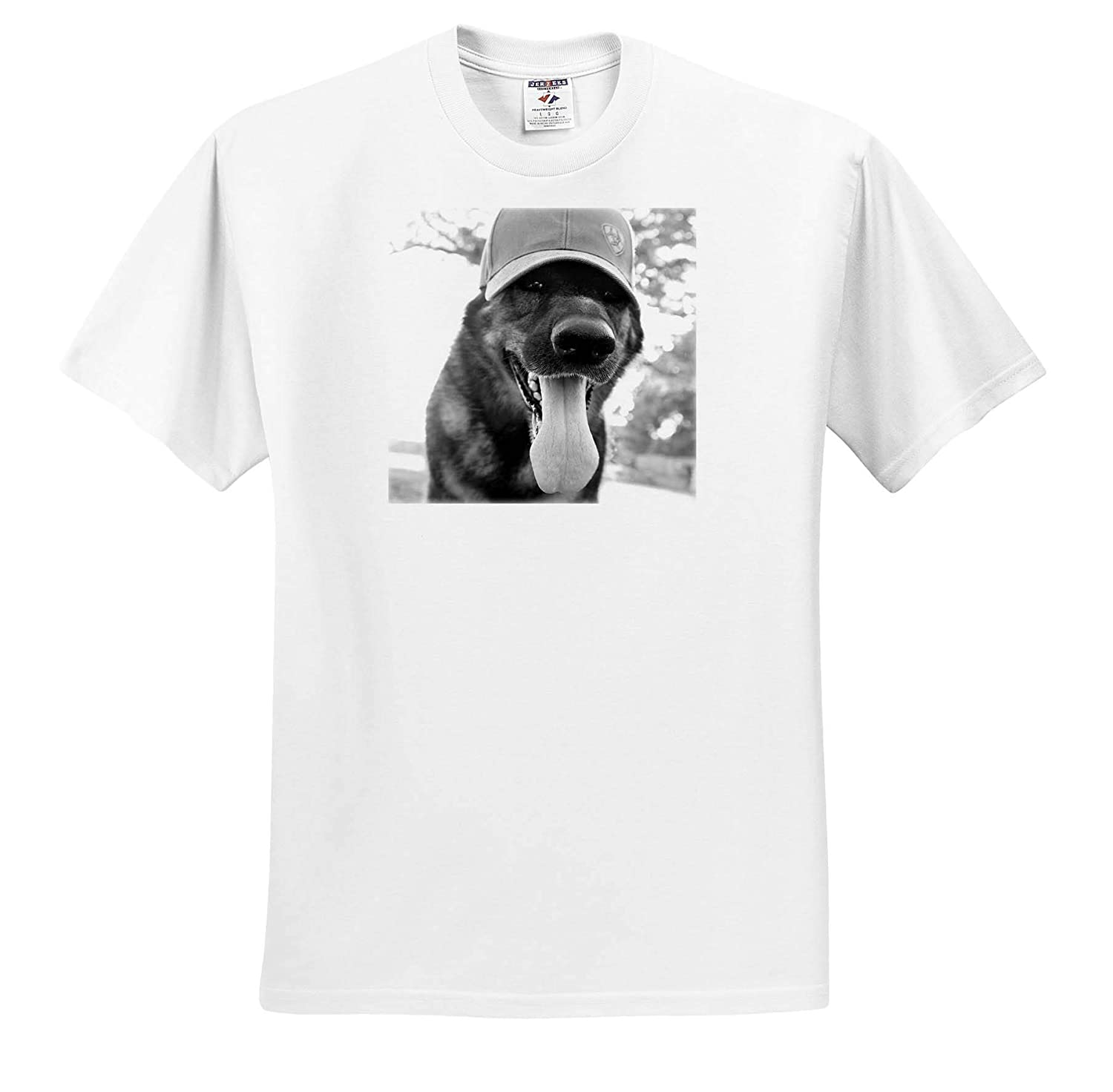 3dRose Stamp City Black and White Photograph of a German Shepherd Dog in a Trucker hat Animals - T-Shirts