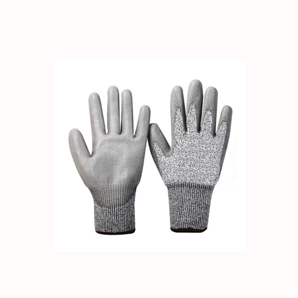 JJH&& Outdoor-Schutzhandschuhe, Anti-Rutsch-Anti-Schnitt-Website Abriebfest Sicherheits-Arbeitshandschuhe, Grau