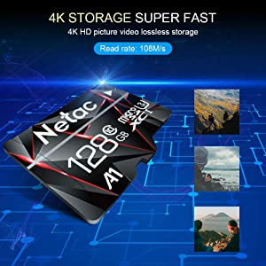 128GB Micro SD Card, Netac Memory Card MicroSD High Speed Transfer A1 C10 U3 MicroSDXC TF Card for Cemera/Phone/Nintendo-Switch/Galaxy/Drone/Dash Cam/GOPRO/Tablet/PC/Computer with Adapter (Color: 128GB, Tamaño: 128GB)