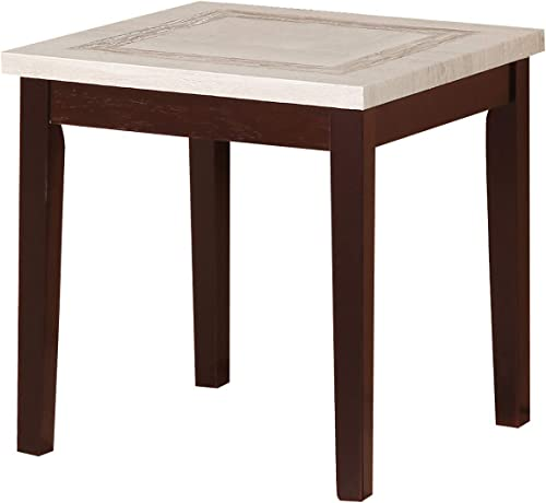 ORE international 29.5″ In Ivory Knox Faux Marbelized Granite End Table