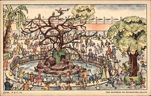 Monkey Enchanted - The Monkeys on Enchanted Island 1933 Chicago World Fair Original Vintage Postcard