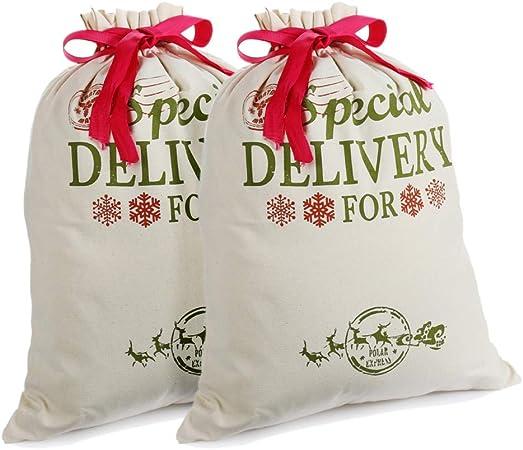 2 Pack Navidad Regalo Bolsas Personalizadas Sacos de Santa Arpillera con Cordón Rojo, Mediano, pequeño, Decoraciones (18.9 X 14.4): Amazon.es: Hogar