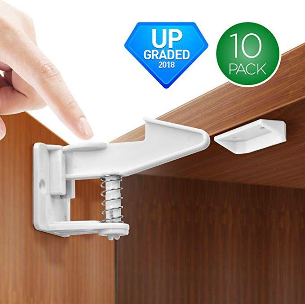 Cabinet Locks Child Safety Latches,CHANMOL 10 Packs Proof Safety Cabinet Drawer Latches Locks Invisible Design with Adhesive - No Drilling or Extra Screws Fixed-White
