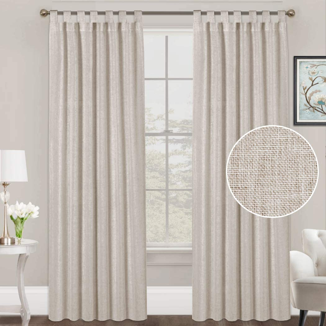 FantasDecor Linen Curtains Natural Linen Blended Curtains Tab Top Curtains Privacy Added Window Treatments Drapes for Living Room Light Filtering Curtains 2 Panels, 52 by 96 Inches, Angora