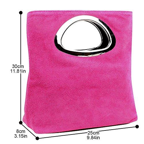 Evening Leather Hot Handle Bag Foldable Handbag Pink Top Ladies Plain Small Clutch Suede Wocharm Womens Iqfawv
