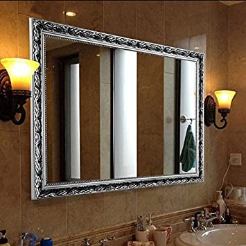 HansAlice 32x24 Large Rectangular Bathroom Mirror Luxurious Baroque Wooden Frame Wall