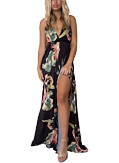 f036dff16260 FFLMYUHUL I U Women's Strap Floral Print Lace Up Backless Deep V Neck Sexy  Split Beach Maxi