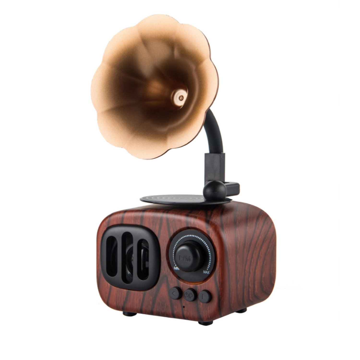 Portable Speakers,Julyfox Wooden Wirless Bluetooth Speakers Palm Small Size Rechargeable With FM Radio Gramophone Retro Design For Car Home Outdoor Travel Use Dark Wooden