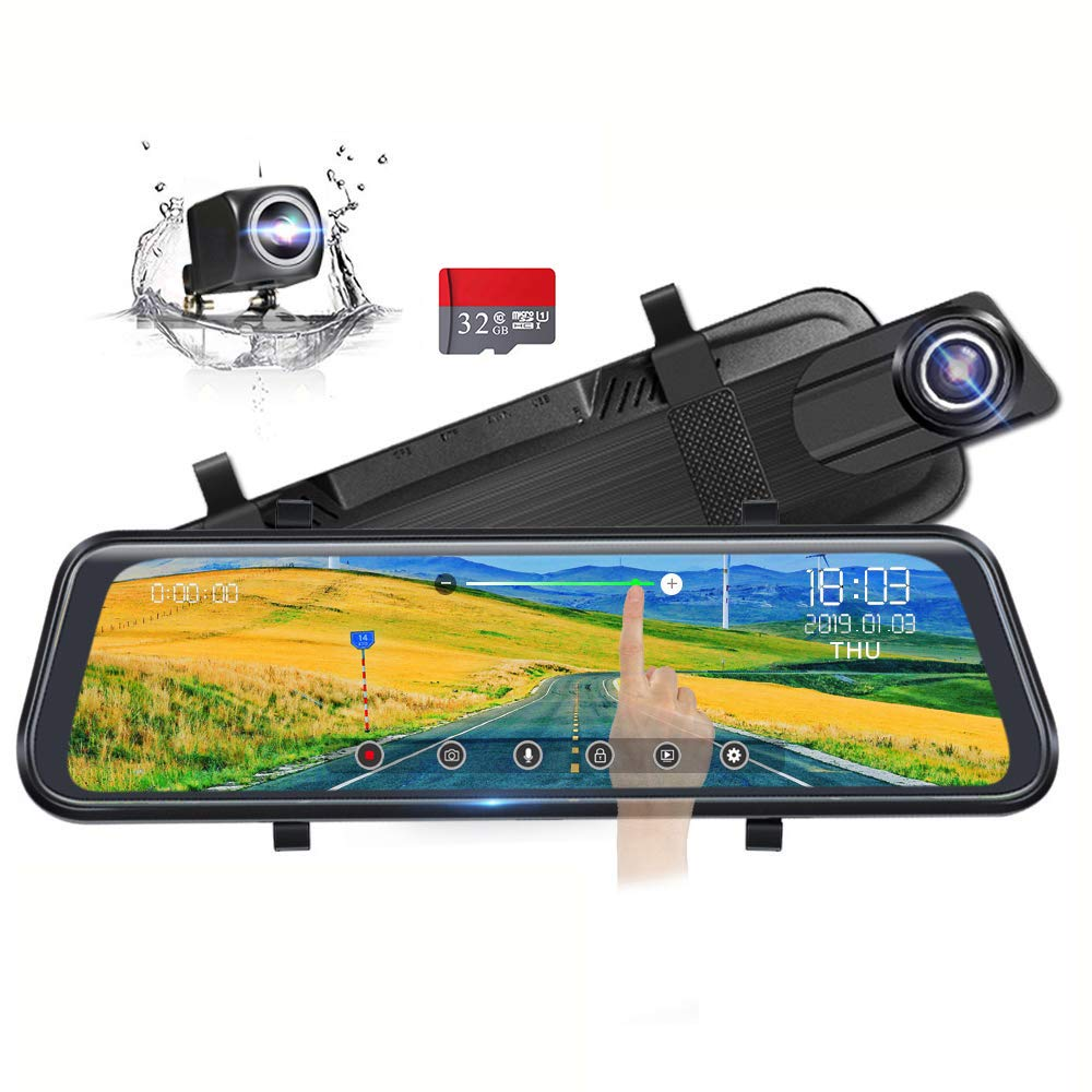 Backup Camera 10'' Full Touch Screen Mirror Dash Cam, Poaeaon 170° 1296P Front and 150° 1080P Rear View Camera Dual Lens with Night Vision & Parking Monitor (Free 32GB SD Card)