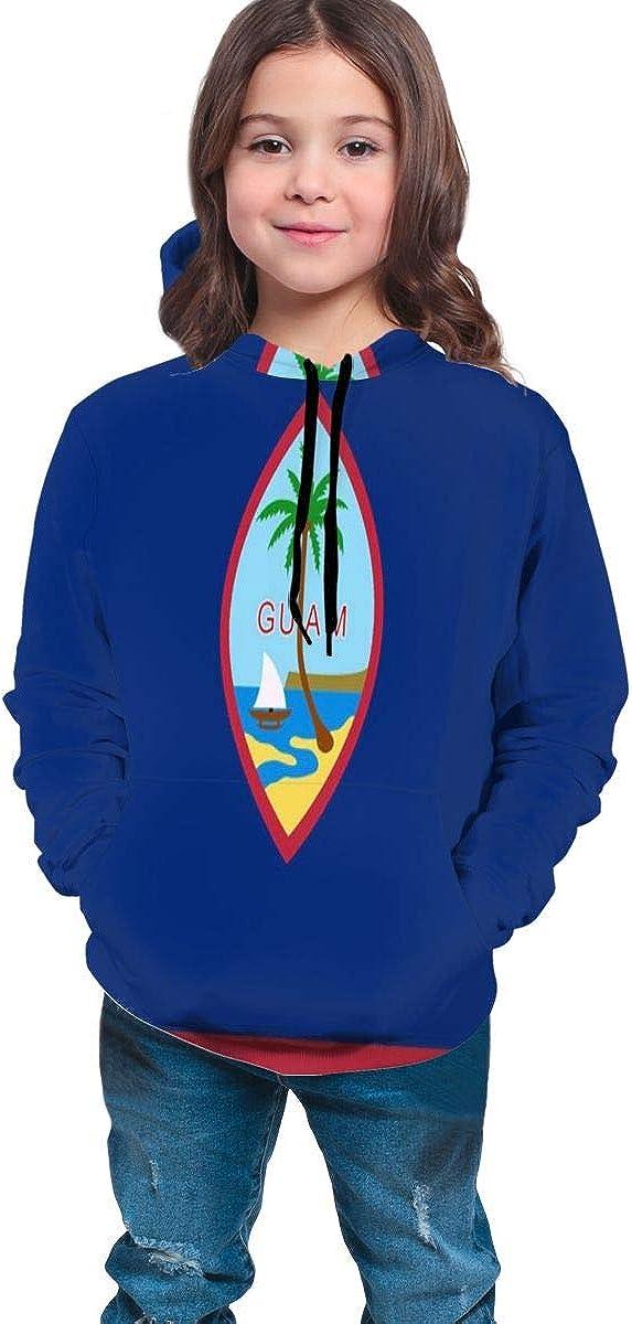NTQFY Flag of Guam Teens Pullover Hoodie Midweight Sweatshirt Windbreaker Hooded Shirts