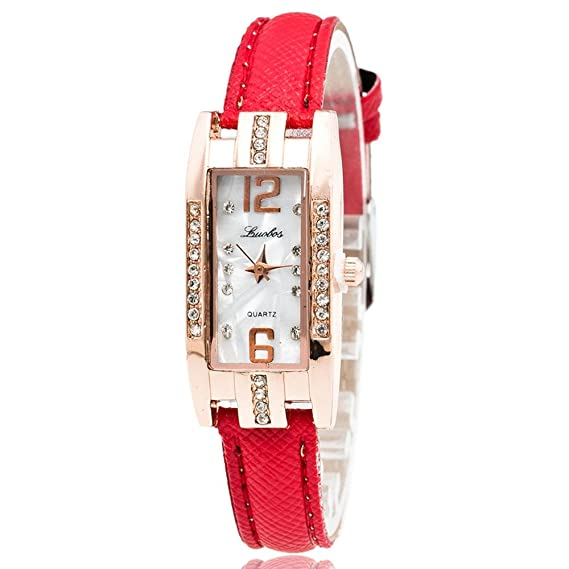 JiaMeng Auténtico Suizo Reloj Analógico de Pulsera de Cuarzo con Puntero de Mujer de Moda (Rojo): Amazon.es: Ropa y accesorios