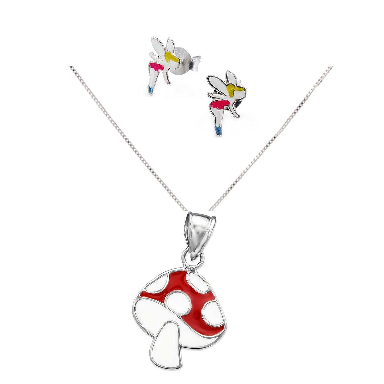 SL-Silver Parure pour enfants avec boucles d'oreilles elfes et pendentif champignon en argent 925 dans un coffret cadeau set35