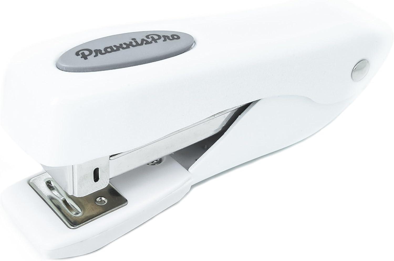 Small Office Stapler, PraxxisPro Fortis Compact Grip, Mini Desktop Stapler (White)