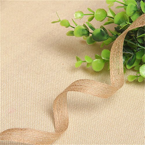 (5 Meters Natural Jute Hessian Burlap Edge Trim Ribbon Vintage Rustic Floristry Wrapping Decor Edging Trimmings Fabric Embroidered Applique Sewing Craft DIY Cards Gifts Decoration (1/4