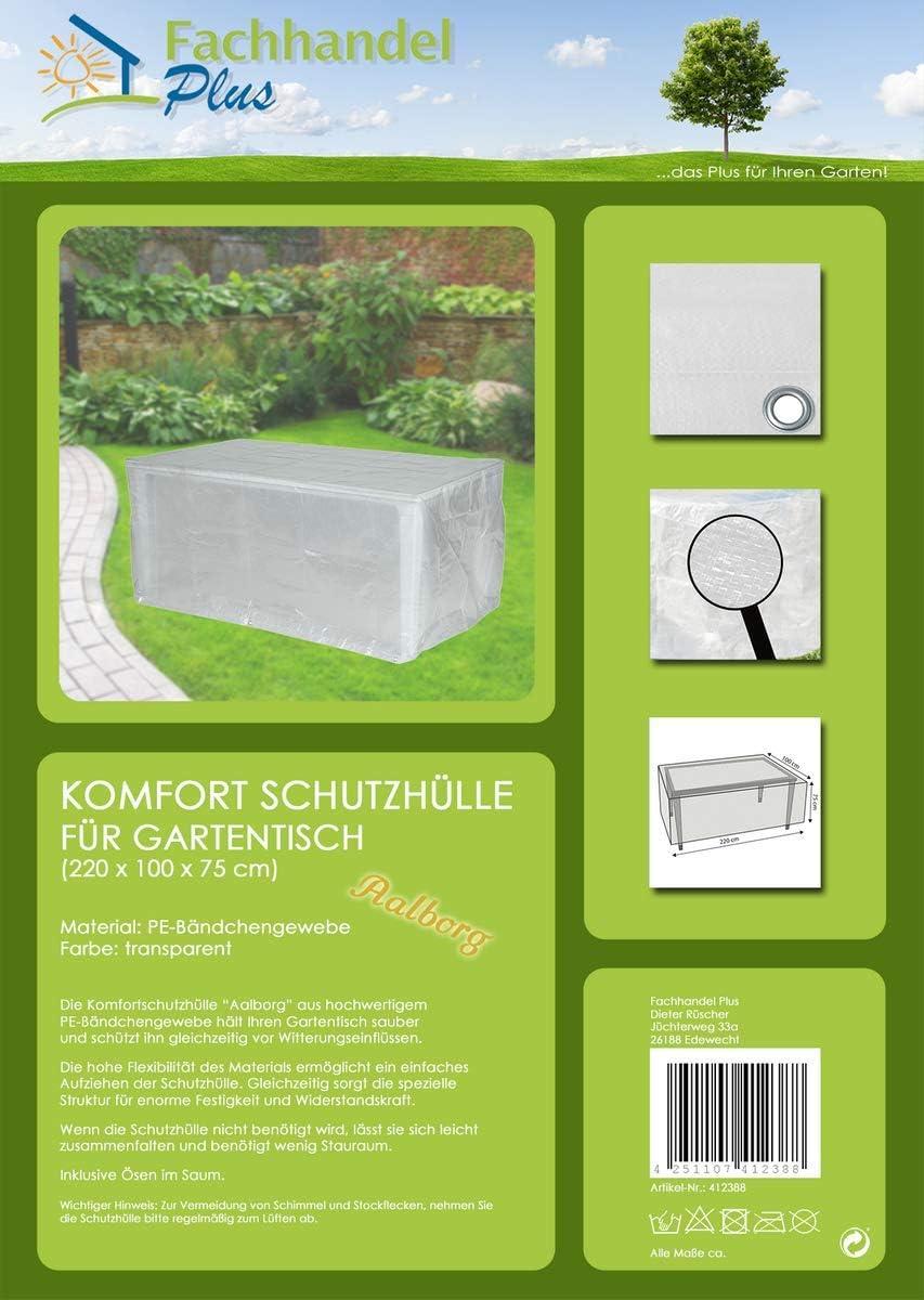 Fachhandel Plus Housse de Protection pour Table de Jardin rectangulaire 180 x 100 x 75 cm Transparent