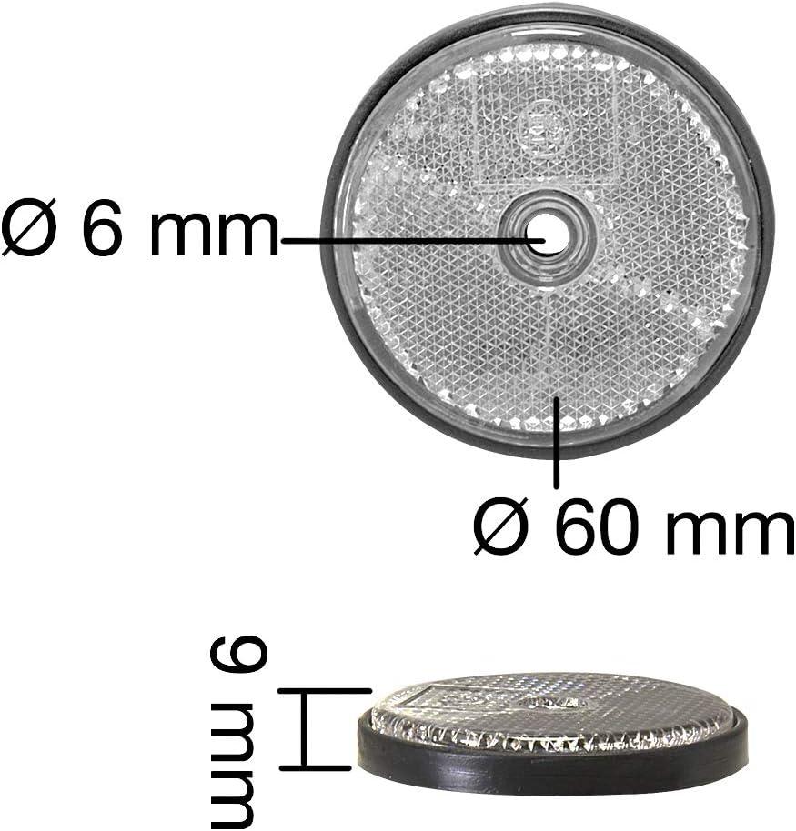 10x Seitenreflektor Weiß Ø 60mm Rund Für Pkw Anhänger Strahler Mit Schraubloch Auto