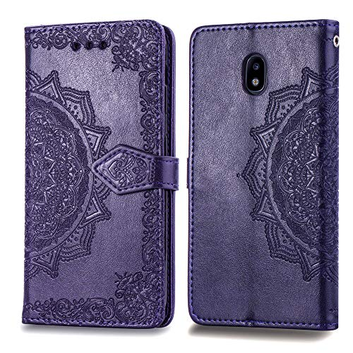 (Cmeka Mandala Wallet Case for Samsung Galaxy J3 2018 / J3 Achieve / J3 StarSlim 3D Relief Flower Flip Leather Protective Case,Magnetic Closure,Card Slots,Kickstand Function (Purple))