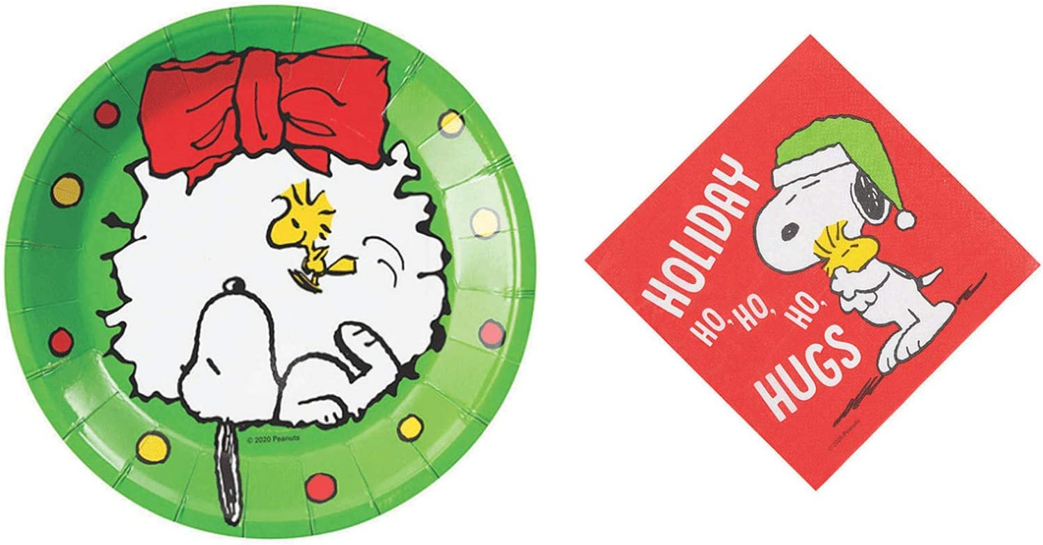 Peanuts Snoopy and Woodstock Christmas Dessert Plates and Beverage Napkins for 8 Guests