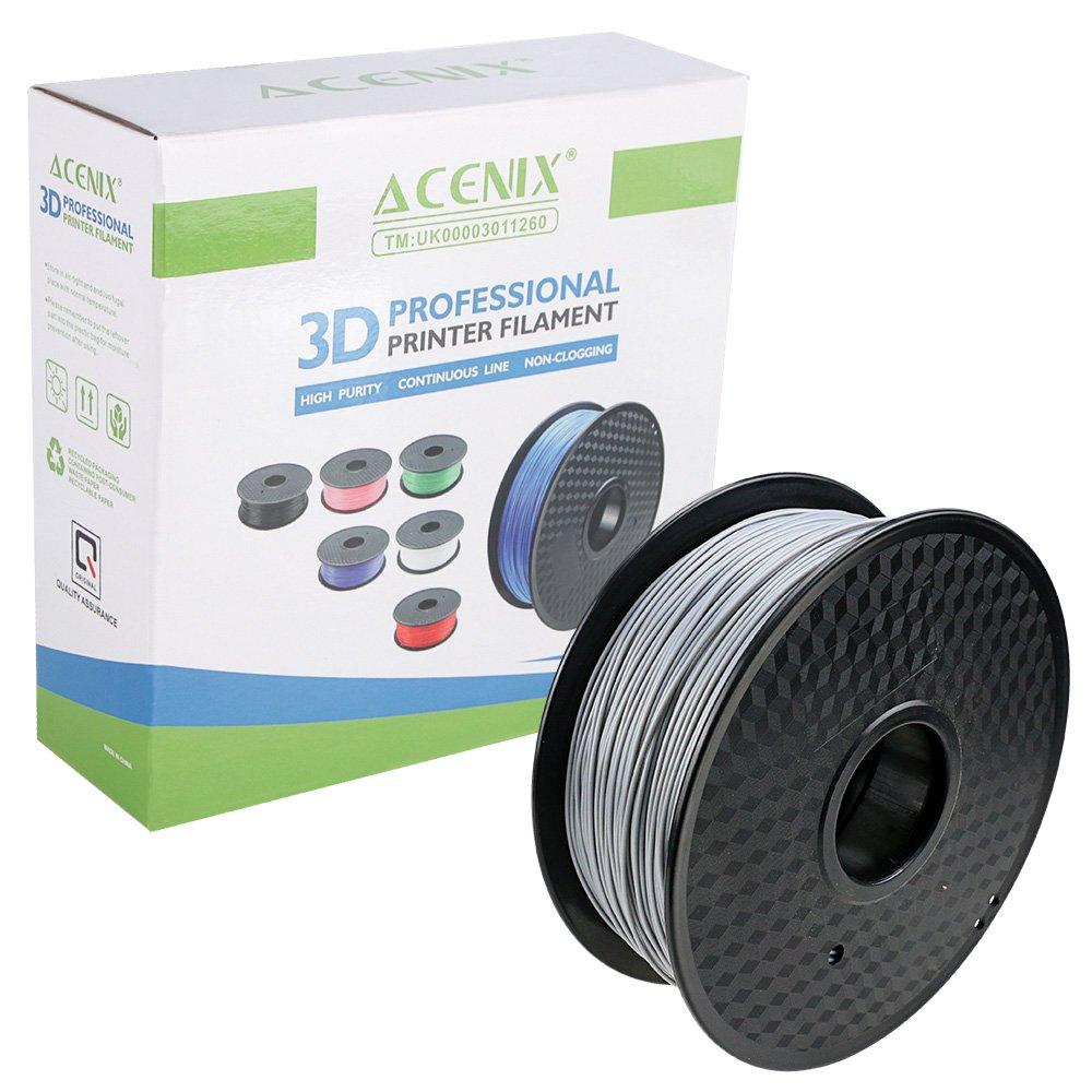 Filamento stampante 3D PLA ACENIX® argento, bobina da 1 kg, 1,75 mm, Precisione dimensionale +/- 0,03 mm 1KG [2,2 LBS] Filamento 3D bobina per stampanti 3D e penne 3D EBUYER GATE LTD