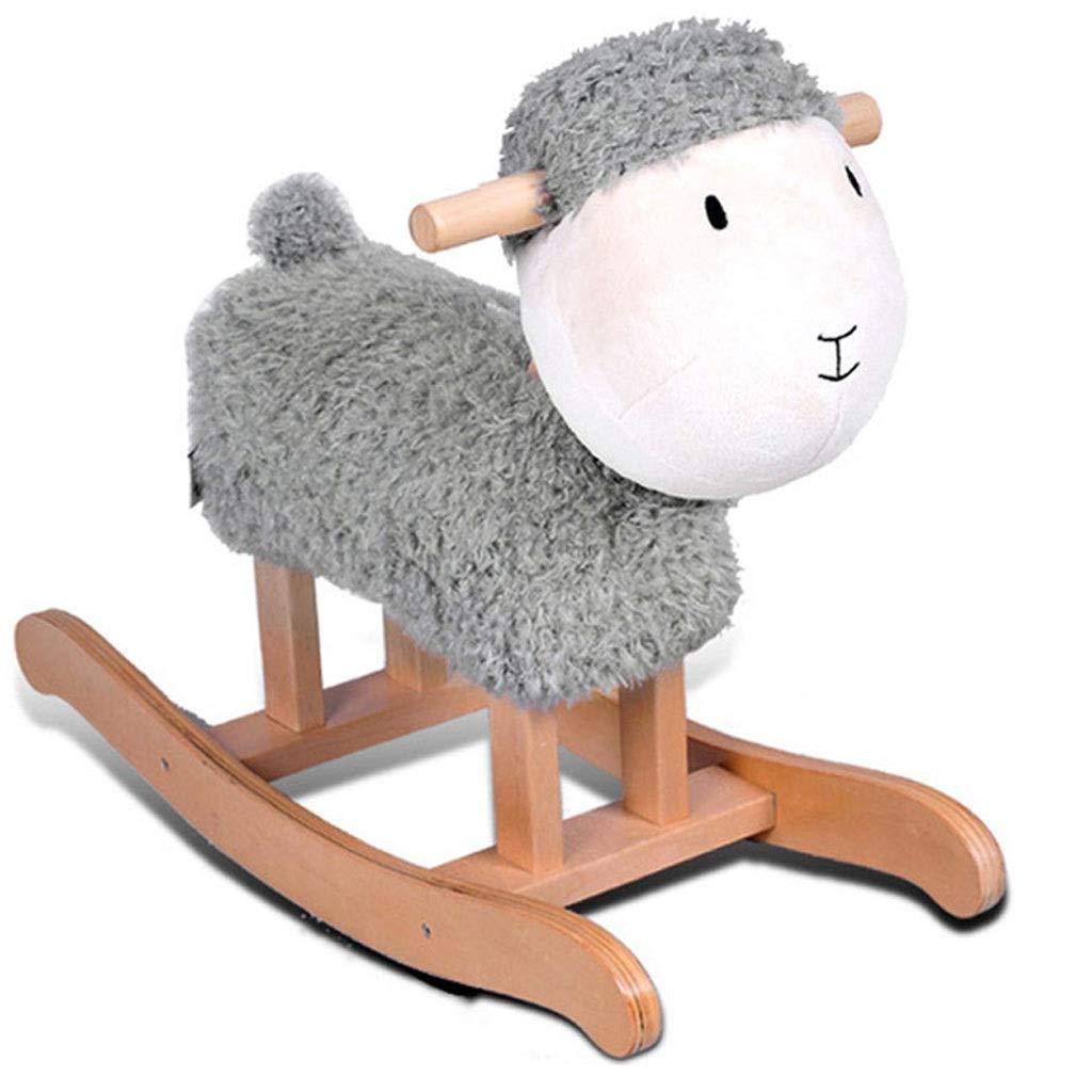 YangMi 子供用の木馬- 子供の純木の揺りかご、子供の揺り木馬のロッキングチェアのおもちゃ (色 : Gray, サイズ さいず : 60x23.5x47cm) 60x23.5x47cm Gray B07QG8QBNK